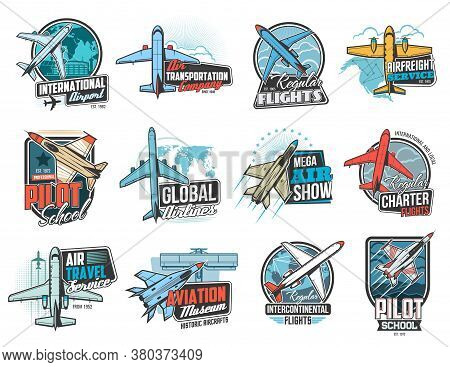 Aviation And Air Flight Icons, Airplane Pilot School And Aircraft Museum, Vector Signs. Air Flight A