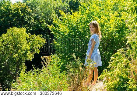 A Little Girl Stands By The Sunlit Bushes On The Edge Of The Ravine. Sunny Summer Day
