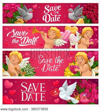Save The Date Wedding Banners, Vector Cartoon Cupids Playing On Harp And Bugle, Doves, Pigeons And F