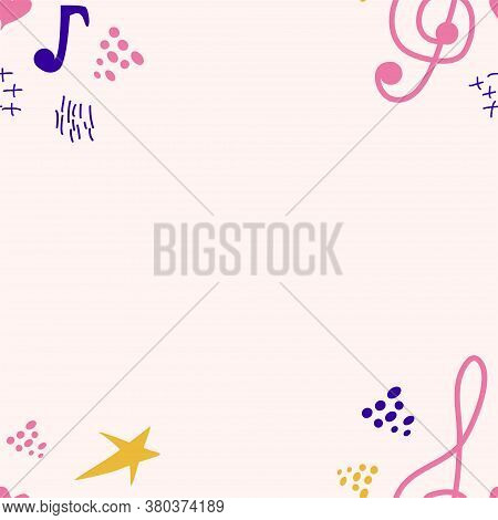 Abstract Music Notes Seamless Pattern Background. Musical Illustration Melody Decoration