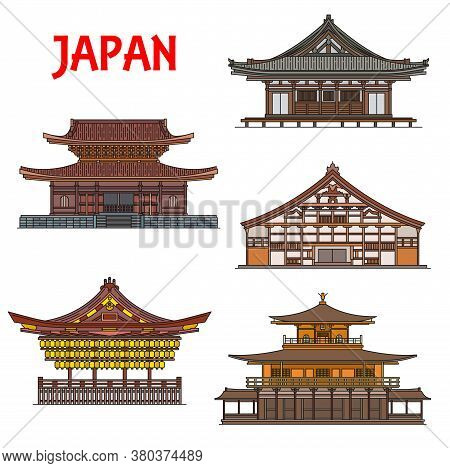 Japanese Temples And Shrines Buildings, Japan Pagodas Houses, Architecture Landmarks Of Kyoto. Vecto