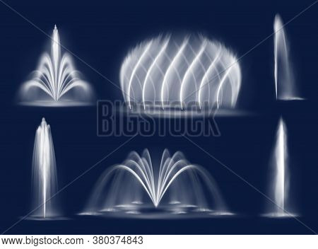 Fountain Water Jets Isolated Vector Cascades And Single Splashing Streams. Realistic Multiple Geyser