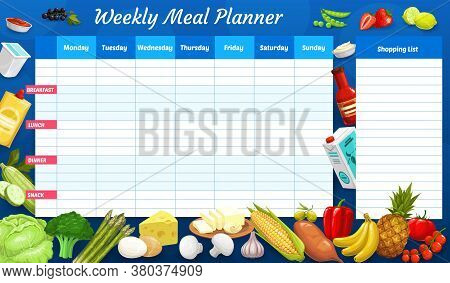 Weekly Meal Planner, Vector Timetable, Week Food Plan Organizer With Farm And Dairy Products. Calend