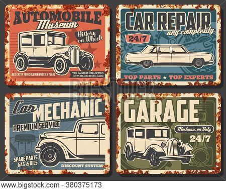 Old Cars And Vehicles Rusty Metal Plate Vector. Antique Sedan And Coach, Classic Limousine. Retro Au