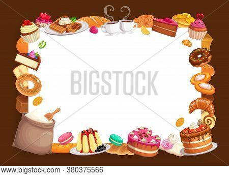 Baker Shop Vector Frame, Bakery Pastry And Desserts, Sweet Baked Food Strawberry Cake, Pies, Waffles