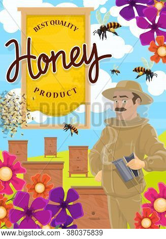 Honey Products, Apiary Farm, Vector Beekeeper In Protective Suit With Smudge. Beekeeping, Agricultur