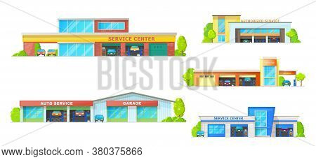 Car Service Building Vector Icons With Auto Repair Shop, Mechanic Garage Or Workshop, Car Wash Stati