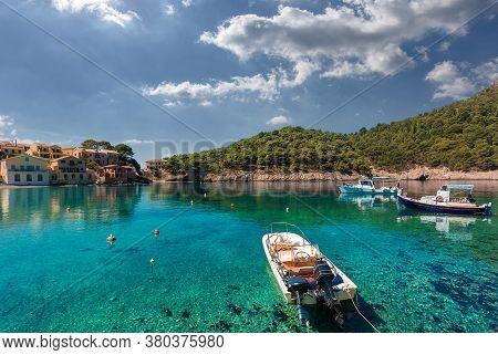 Wonderful Sunny Seascape. Boats In Beautiful Turquoise Ocean Near An Island. Amazing Coastline With