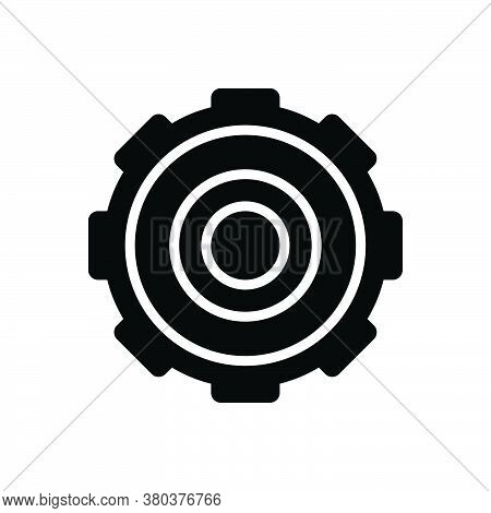 Black Solid Icon For Setting Ambience Context Surroundings  Sprocket Cogwheel Progress
