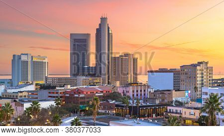 Corpus Christi, Texas, USA downtown city skyline at dawn.