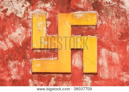 Nha Trang, Vietnam 31 July 2012 - Swastika Symbol On An Ancient Temple In Nha Trang. The Swastika Sy