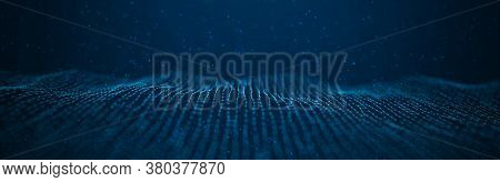 Wave 3d. Wave Of Particles. Abstract Blue Geometric Background. Big Data Visualization. Data Technol