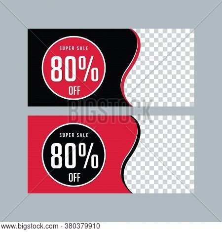 Black Friday Banner Template. Web Banner Set Design. Abstract Background. Red Poster. Black And Red
