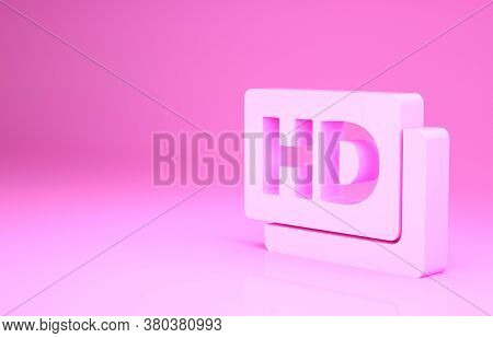 Pink Hd Movie, Tape, Frame Icon Isolated On Pink Background. Minimalism Concept. 3d Illustration 3d