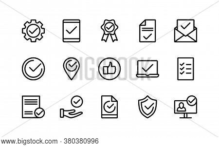 Decisions Approved Linear Icons Check Marks. Confirmation Of The Contract. List Of Accepted Agreemen