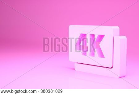 Pink 4k Ultra Hd Icon Isolated On Pink Background. Minimalism Concept. 3d Illustration 3d Render
