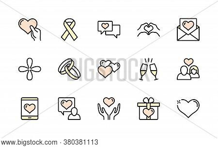 Love And Heart, Wedding, Ring, Hand, Couple, Proposal, Romance Color Vector Linear Icons Set. Simple