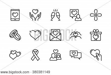 Love And Heart, Wedding Ring, Hand, Couple, Proposal, Romance Vector Linear Icons Set. Simple Set Of