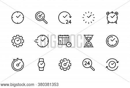 Time And Clock Linear Vector Icons Set. Time Management. Alarm Clock, Timer, Speed, Clock, Stopwatch