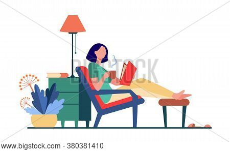 Woman Relaxing At Home. Girl Drinking Hot Tea, Reading Book In Armchair Flat Vector Illustration. Le