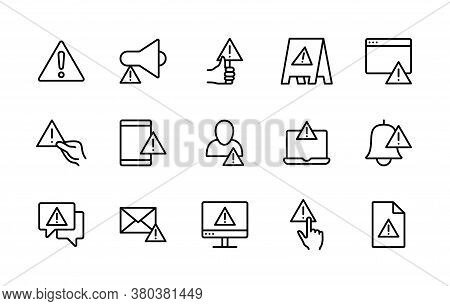 Warnings And Attention Vector Linear Icons Set. Contains Such Icons As Alert, Exclamation Mark, Warn