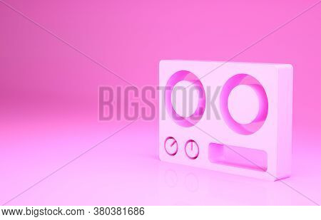 Pink Gas Stove Icon Isolated On Pink Background. Cooktop Sign. Hob With Four Circle Burners. Minimal