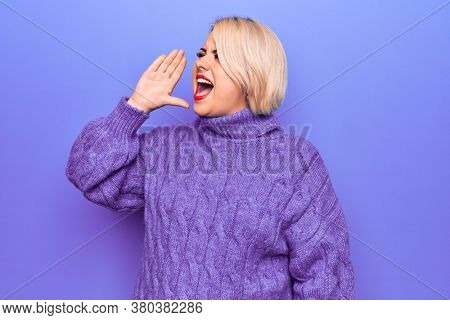 Beautiful blonde plus size woman wearing casual turtleneck sweater over purple background shouting and screaming loud to side with hand on mouth. Communication concept.