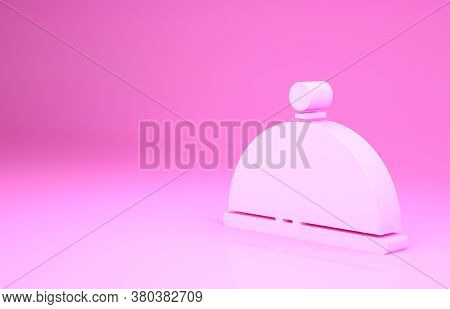 Pink Covered With A Tray Of Food Icon Isolated On Pink Background. Tray And Lid. Restaurant Cloche W