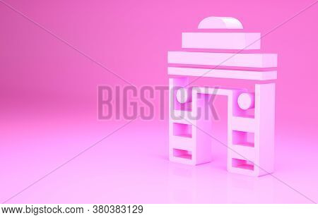 Pink India Gate In New Delhi, India Icon Isolated On Pink Background. Gate Way Of India Mumbai. Mini