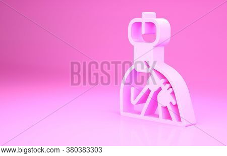 Pink Indian Man Plays Flute Icon Isolated On Pink Background. Artist Playing Bansuri Folk Music Of I