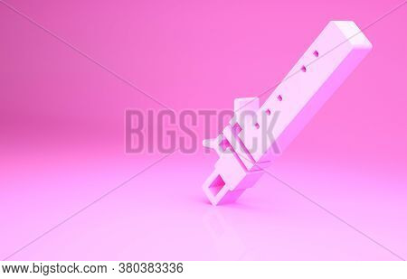 Pink Bamboo Flute Indian Musical Instrument Icon Isolated On Pink Background. Minimalism Concept. 3d