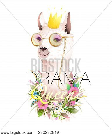 Drama Queen Quote T Shirt Design With Lama, Hipster Llama Wearing Golden Sunglasses, Crown And Flowe