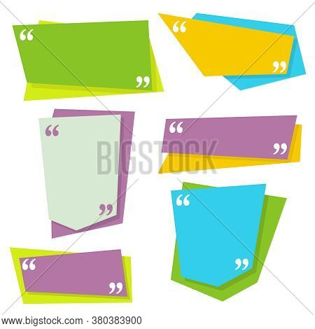 Vector Set Of Quote Frames. Banner With Commas For Sayings, Citation Memo, Dialogues, Ideas, Remark.