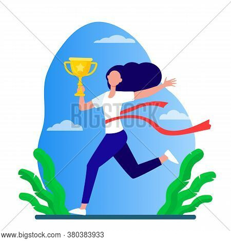 Running Woman Winning Racing. Marathon Leader Holding Cup, Crossing Line With Red Ribbon Flat Vector