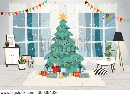 Living Room Interior Decorated For The Christmas Holiday. Christmas Tree With Gifts Inside The House