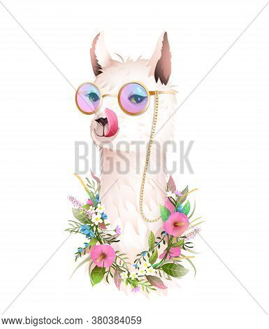 Hippie Lama In Flowers Licking Its Lips Wearing Hipster Sunglasses And Smiling. Cool And Funny T Shi