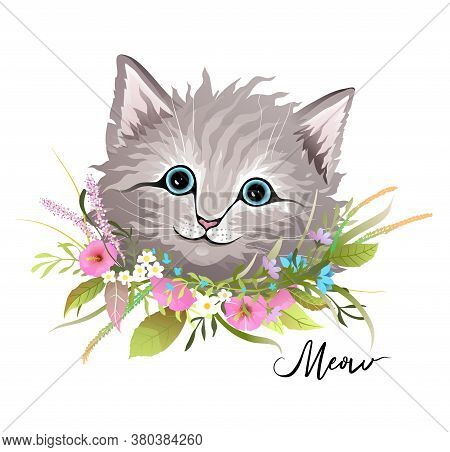 Cute Fluffy Furry Kitten With Flowers Wreath Around Neck, Cat Paws, Floral Compositions And Head Por
