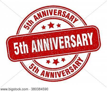 5th Anniversary Stamp. 5th Anniversary Label. Round Grunge Sign