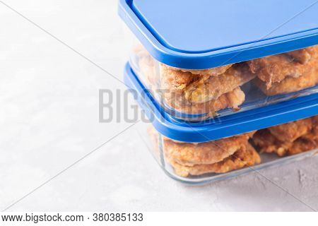 Meal Prepping. Fried Meat In A Glass Container. Ready Meals. Copy Space.