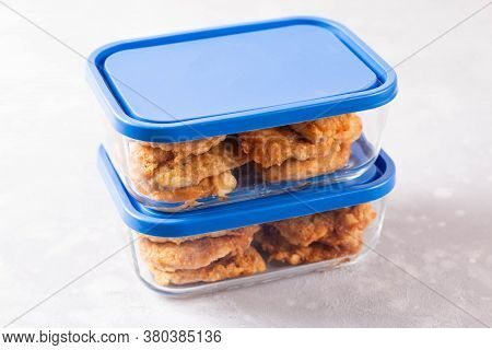 Fried Meat In A Glass Container. Meal Prepping. Ready Meals