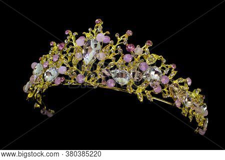 Jewellery Gold Crown Tiara With Diamonds And Gemstones On Black Background