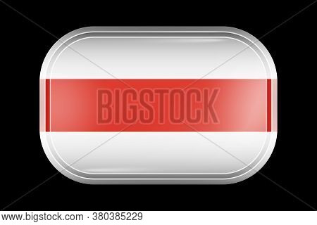 Belarus. Historical White-red-white Flag. Matted Vector Icon. Vector Rectangular Shape With Rounded