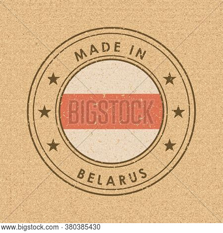 Belarus. Historical White-red-white Flag. Round Label With Country Name For Unique National Goods. V