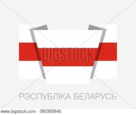 Belarus. Historical White-red-white Flag. Flat Icon Waving Flag With Country Name Written In Belarus