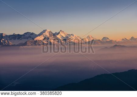 Panorama Of Snowcapped Mountain Range At Sunset. View From Pilatus Mountain, Luzern, Switzerland