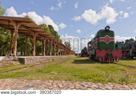 Haapsalu, Estonia - July 30, 2020: Railway Museum In The Town Of Haapsalu. In The Foreground Is The