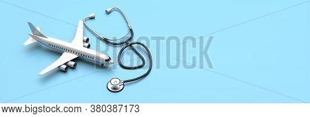 Plane Model And Medical Stethoscope On Blue Background. 3D Illustration