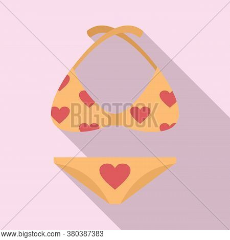 Girl Beachwear Icon. Flat Illustration Of Girl Beachwear Vector Icon For Web Design