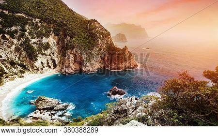 Beautiful View Over The Sea Beach In Kerkyra Island. Wonderful Morning Seascape Of Ionian Sea, Corfu