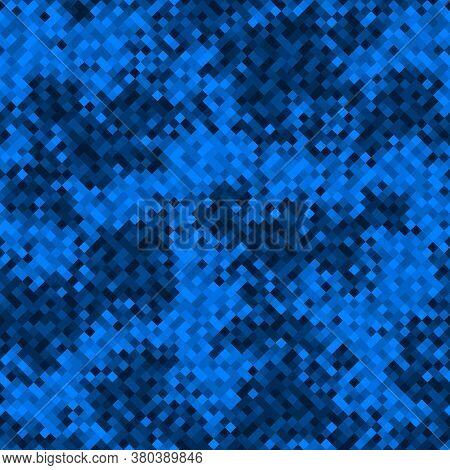 Sapphire Blue Halftones Pixel Clouds Seamless Pattern Vector Background Texture